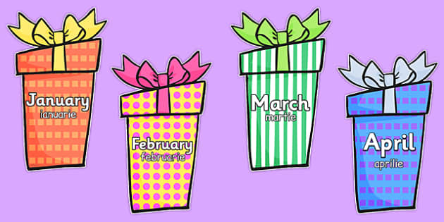 Months of the Year on Birthday Presents Romanian Translation - romanian, months, year, birthday