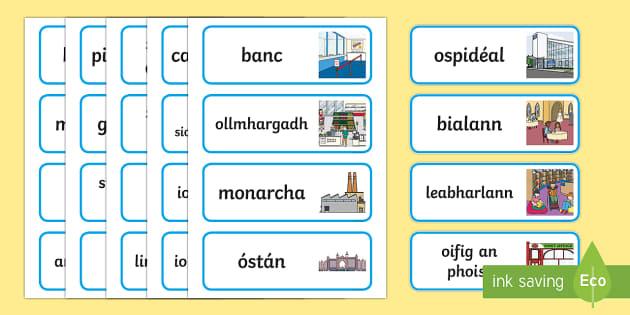 My Area Word Cards Gaeilge - Gaeilge - Sa Bhaile, Irish, my area, mo cheantar, where I live,Irish