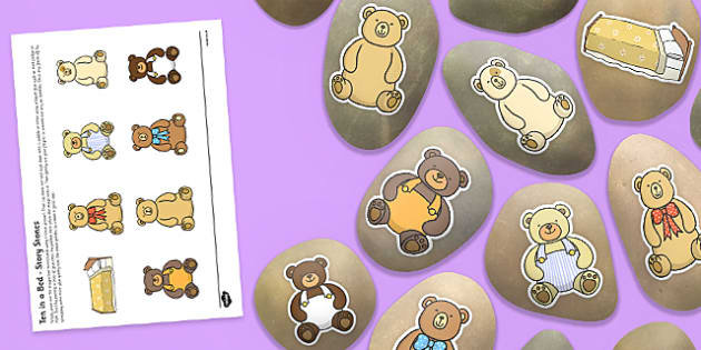 Ten in a Bed Story Stones Image Cut-Outs - Story stones, stone art, painted rocks, Nursery Rhymes, number rhymes, traditional
