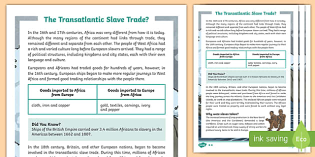Slavery Differentiated Fact File