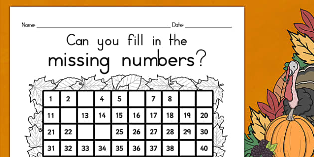 Thanksgiving Missing Numbers Number Square USA - numeracy, maths