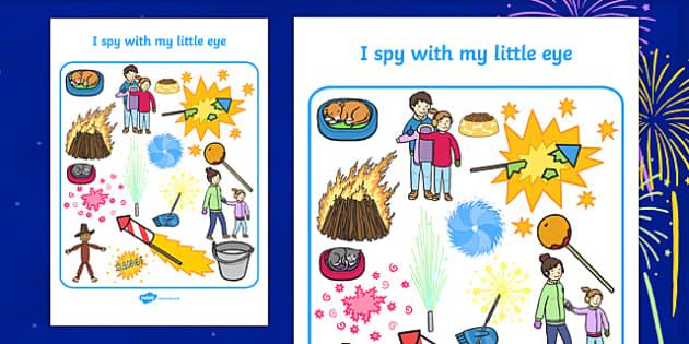Bonfire Themed I Spy With My Little Eye Activity Sheet - i spy with my little eye, i spy, activity, bonfire, worksheet