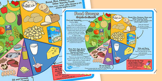 Large Food Groups Poster Romanian Translation - romanian, food groups, poster, display poster, display