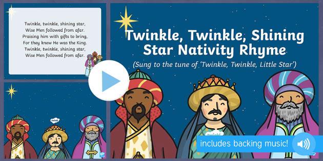Twinkle Twinkle Shining Star Nativity Song PowerPoint - twinkle twinkle shining star, twinkle twinkle little star, christmas, nativity, song, powerpoint