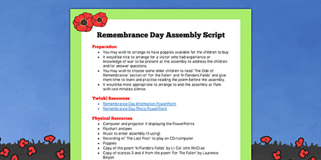 Remembrance Day Assembly Script - remembrance day, assembly