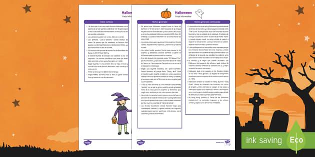 Halloween - información para profesores Hoja informativa