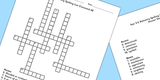 Year 5-6 Statutory Spelling List Crossword 8 - spell, crossword