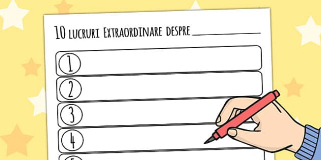 Zece lucruri despre mine, Fisa de Scriere - despre noi , Romanian