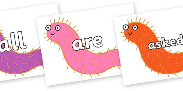 Tricky Words on Bristle Worm to Support Teaching on Sharing a Shell - Tricky words, DfES Letters and Sounds, Letters and sounds, display, words