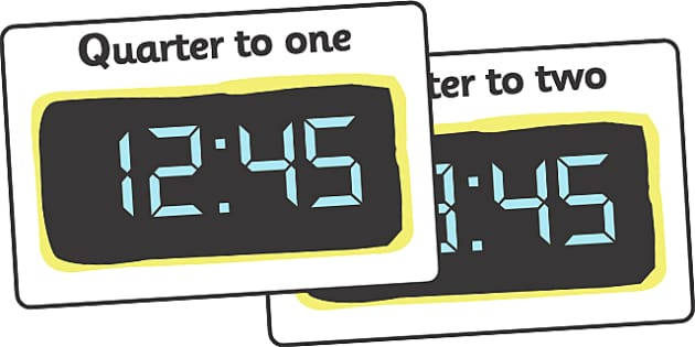 Digital Clocks - Quarter To (24 Hour) - Time resource, digital clock, Time vocaulary, clock face, O clock, half past, quarter past, quarter to, shapes spaces measures