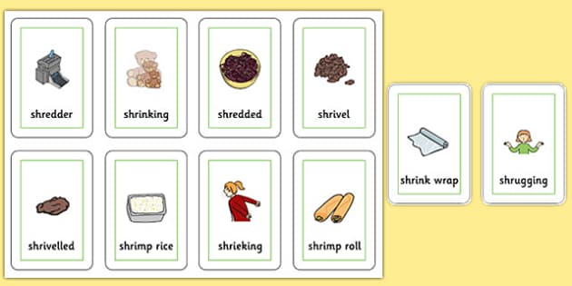 Two Syllable SHR Flash Cards - speech sounds, phonology, articulation, speech therapy, cluster reduction