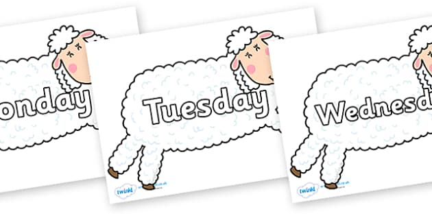 Days of the Week on Hullabaloo Sheep to Support Teaching on Farmyard Hullabaloo - Days of the Week, Weeks poster, week, display, poster, frieze, Days, Day, Monday, Tuesday, Wednesday, Thursday, Friday, Saturday, Sunday