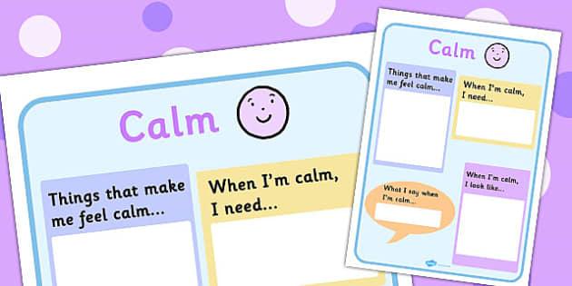 Calm Chart - feelings, emotions, SEN, class management, charts