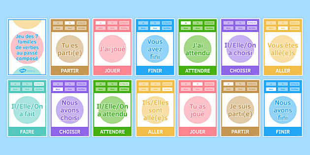 Perfect Tense Happy Families Card Game Happy Families Card Game - French