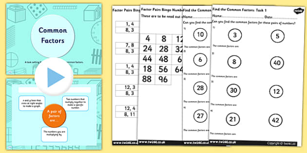 Year 5 6 Common Factors PowerPoint Task Setter and Activity Work Pack - year 5, year five, year 6, year six, common factors, powerpoint, task setter, words, factors