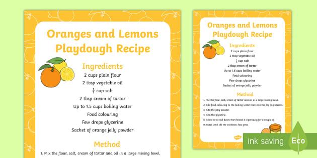 Oranges and Lemons Playdough Recipe - playdough, recipe, oranges