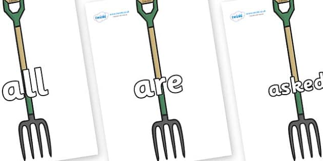 Tricky Words on Garden Forks - Tricky words, DfES Letters and Sounds, Letters and sounds, display, words