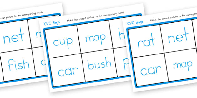CVC Bingo Matching Card Game - CVC, bingo, matching, CVC cards