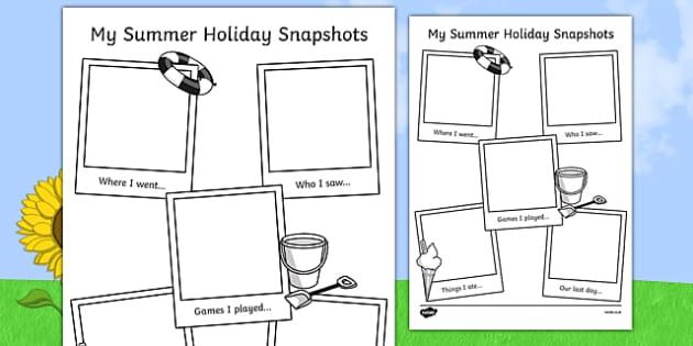 Summer Holiday Snapshots Writing Frame - transition, writing aid