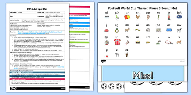 EYFS Phase 3 Football Word Game Adult Input Plan and Resource Pack -pseudo words, read, write, phas 3, pase 3, soccer
