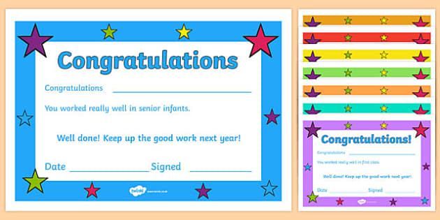 End of Year Irish Class Certificate