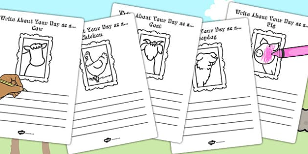 Write About Your Day as a Farm Animal Activity Sheet - animal, worksheet
