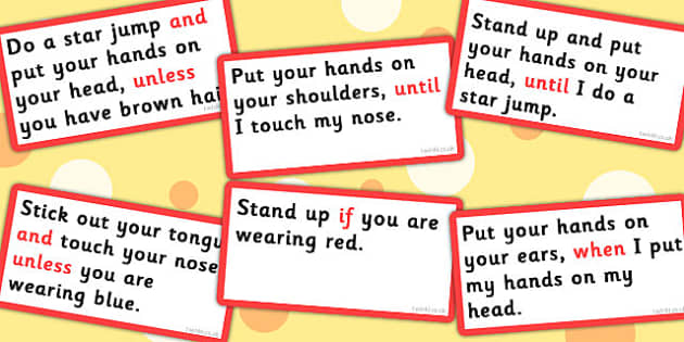 Conjunctions Follow The Instructions Game - Connectives, Game