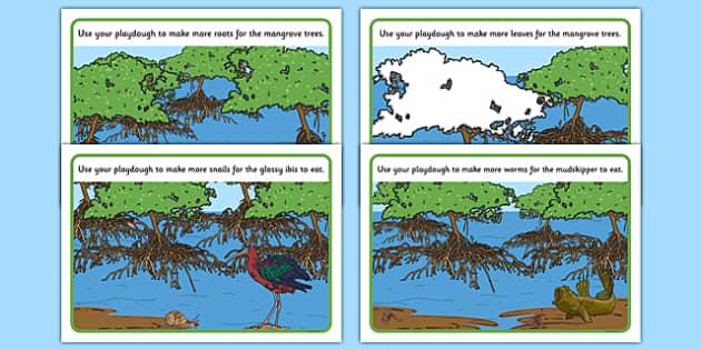Australian Mangrove Habitat Playdough Mats - Science, Year 1, Habitats, Australian Curriculum, Mangrove, Living, Living Adventure, Environment, Living Things, Animals, Plants, Paydough Mats