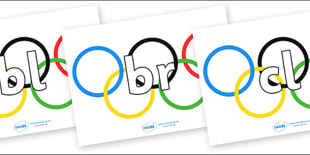 Initial Letter Blends on Olympic Rings - Initial Letters, initial letter, letter blend, letter blends, consonant, consonants, digraph, trigraph, literacy, alphabet, letters, foundation stage literacy