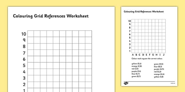 Colouring Grid References Worksheet - coordinates, coordinates