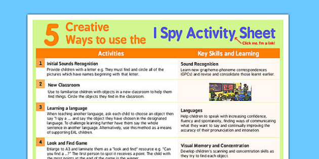 5 Creative Ways to Use I Spy Activity Sheet - I spy, creative, worksheet
