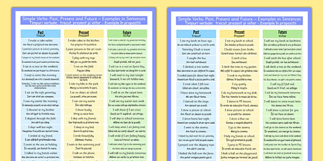 Simple Verbs Past, Present and Future Examples in Sentences Poster Romanian Translation - romanian, simple, verbs, past, present, future, examples