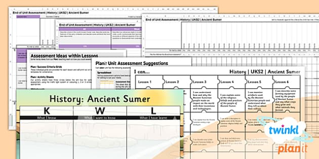 PlanIt - History UKS2 - Ancient Sumer Unit Assessment Pack - assessment, record, data, baseline, nation, pack, objectives, criteria, success, national, curriculum,