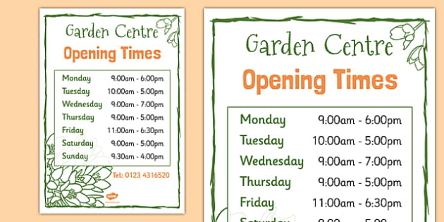 Garden Centre Role Play Opening Times - garden, centre, plants, flowers, grow, growing, growth, shop, play, money, acting, role, play, roleplay, drama, eyfs, early years, ks1, year 1, y1