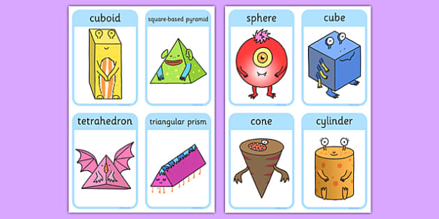 3D Shape Aliens Flash Cards - 3d shape, aliens, flash cards, flashcards