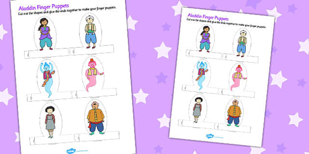 Aladdin Finger Puppets - finger puppets, aladdin, finger, puppets