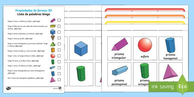 Clasificación de formas espaciales Bingo