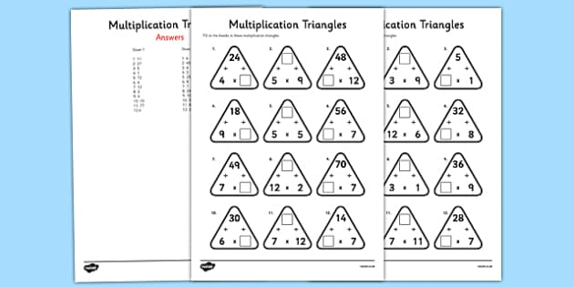multiplication triangles activity sheet 2 to 12 times tables. Black Bedroom Furniture Sets. Home Design Ideas