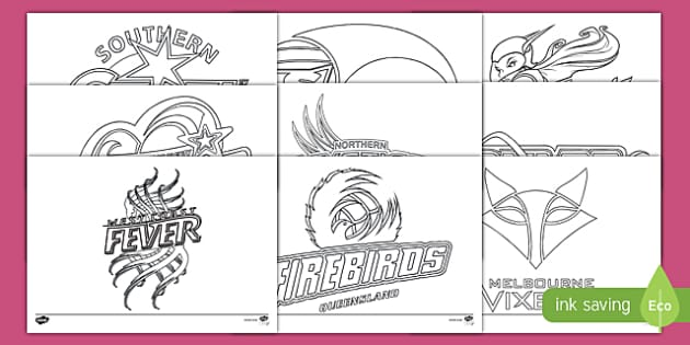 Australia Netball Teams Colouring Pages