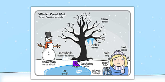 Winter Scene Word Mat Romanian Translation - romanian, winter, scene, word mat, word, mat