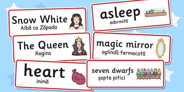 Snow White and the Seven Dwarfs Word Cards Romanian Translation