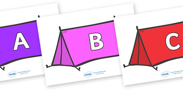 A-Z Alphabet on Tents - A-Z, A4, display, Alphabet frieze, Display letters, Letter posters, A-Z letters, Alphabet flashcards