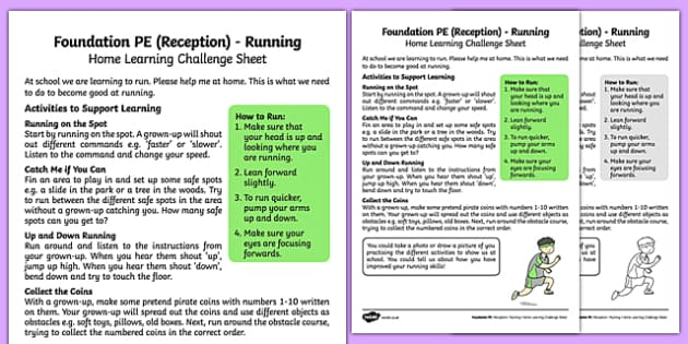 Foundation PE (Reception) - Running Home Learning Challenge Sheet - EYFS, PE, Physical Development