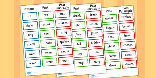 Present Past Past Participle Verbs Reference Sheet - present, participle, verbs