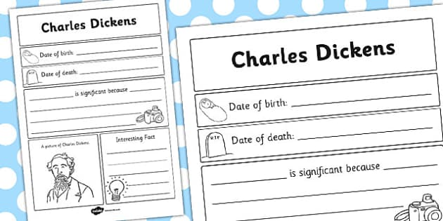 Charles Dickens Significant Individual Writing Frame - writing