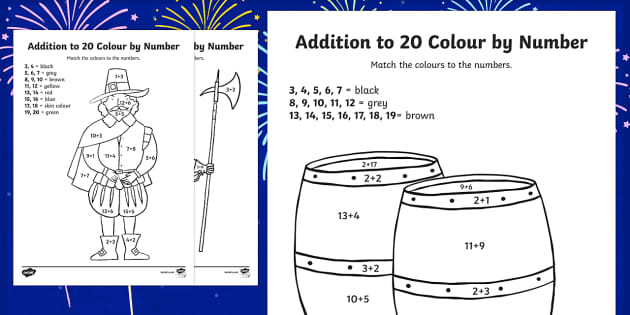 Guy Fawkes Themed Addition Up to 20 Roll and Colour Activity Sheet