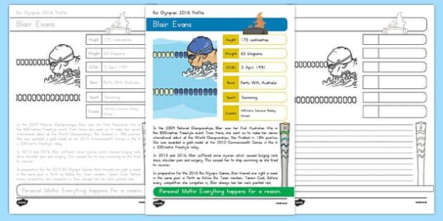 Australian Rio Olympian Blair Evans Handwriting Practice Activity Sheets-Australia, worksheet