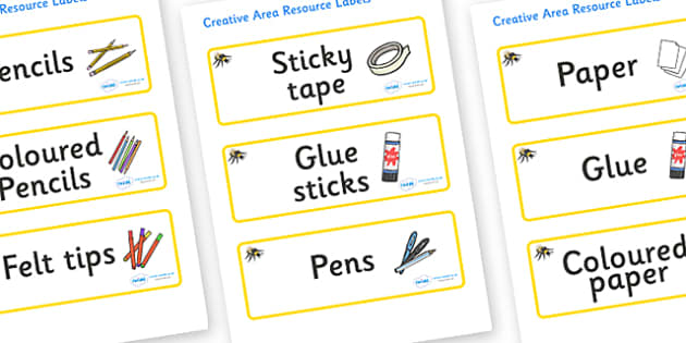 Busy Bee Themed Editable Creative Area Resource Labels - Themed creative resource labels, Label template, Resource Label, Name Labels, Editable Labels, Drawer Labels, KS1 Labels, Foundation Labels, Foundation Stage Labels