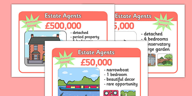 Estate Agents Display Posters - Estate Agents Role Play Pack, estate agents, for sale, to let, house, properties, apartment, bungalow, cottage, semi-detached, tarraced, role play, display, poster