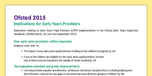 Ofsted 2015 Implications for Early Years Providers - ofsted